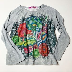 Desigual Yes long sleeve floral grey shirt large
